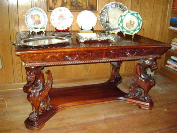 Wow! 1920s Baroque partners desk, mahoganey, 4 wing griffen legs, insert carving, the real deal! awesome condition. Also, 4 nice Dresden presentation plates/platters