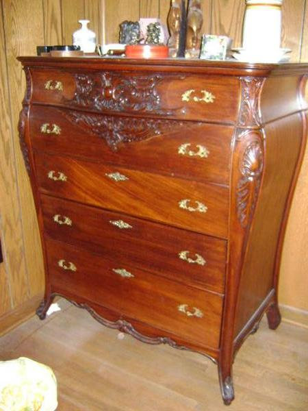 1920s Bombe french Louis XIV style chest, ribbon mahoganey; another awesome piece.