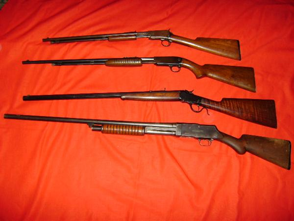 Winchester 1906 22 rifle (4 digit serial #), Winchester Model 61 22, Winchester 1885 low wall single shot 22 (very rare), Stevens 12 gauge