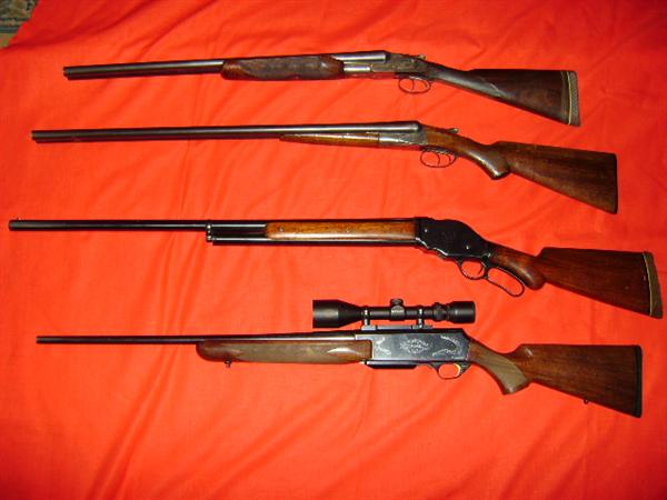 Hunter Arms LC Smith 3E 12 gauge (kept by family), Fox Sterlingworth 12 gauge, Winchester 1901 10 gauge (lever action, rare), Browning Safari 300 win mag with scope ( a beauty! )