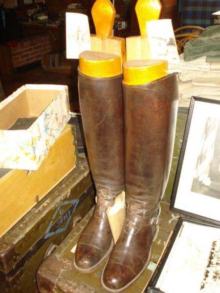 1931-2 General McHenry officer boots with German full-length stretchers to the toe! These are made by Goodyear. They are in mint condition with the spurs and with photos of the General on his horse during the Nicaragua invasion. Priceless!