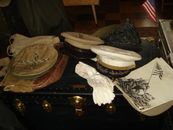 Officers' hats, gloves, berets, and pins