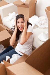 Woman Screaming Unpacking Boxes Moving House